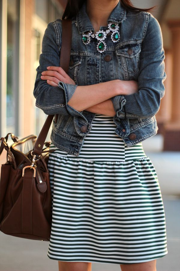 Denim in the mix here with a stripe dress and some coloured jewels