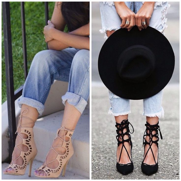Lace-up heels... or flats!  Love these with everything from jeans to dresses.