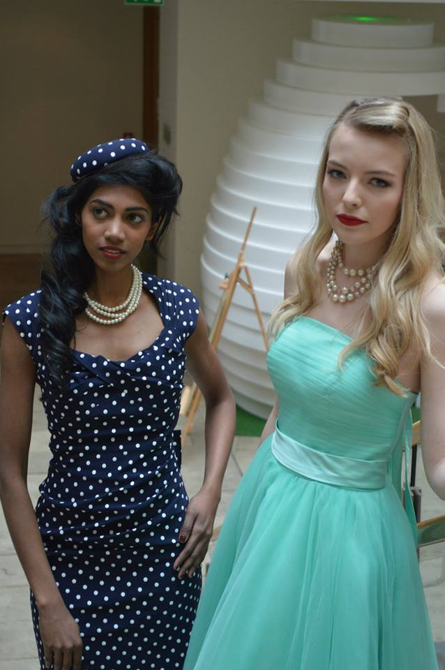 Polka dot dress and hat from Brocade and Lime.  Aqua prom dress from Amity