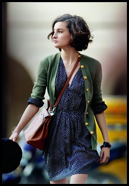 Easy chic: printed dress and cardi, love the bag!