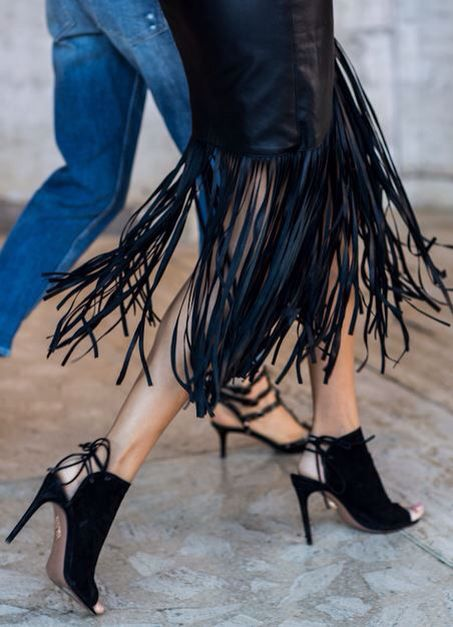 The statement piece such as anything with fringing!  Yes it's a trend but it's always been around, how much fun a fringed skirt would be to wear!  Swoosh swoosh...