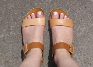 Leather colour block sandals by Dune